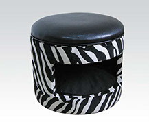 "Classy small Pet House Faux Leather Zebra Print Pet house bed footstool with square entry Pet House 21""D""x19""H"