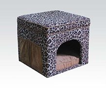 Classy leopard print chenille Micro Fiber Pet House square tufted open top Pet house bed footstool with round entry