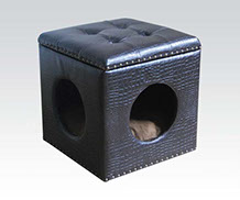 faux alligator skin square tufted open top Pet house bed footstool with round entry