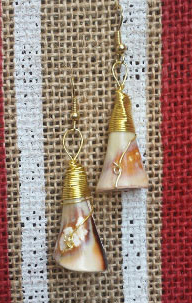 Beautiful custom made Earrings Handmade with wrapped metal and sea shells.  Only $15.00