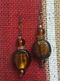 Beautiful custom made Earrings Handmade with antique Glass and wood beads.  Only $15.00