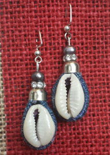 Beautiful custom made Earrings Handmade with metal, crystal and denim and cowry shells. Only $15.00