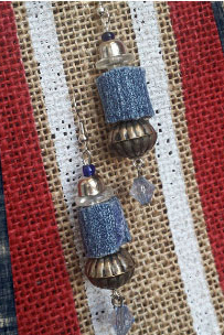 Beautiful custom made Earrings Handmade with metal, Glass and denim. Only $15.00