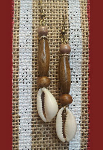 Beautiful custom made Earrings Handmade with wood and cowry shells Only $15.00