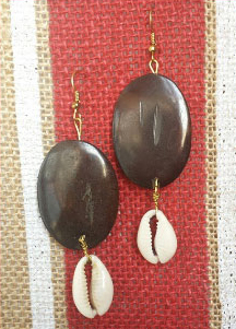 Beautiful custom made Earrings Handmade with Bone, crystal and Cowry Shells. Only $15.00