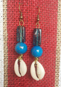 Beautiful custom made Earrings Handmade with antique Glass andcowry shells.  Only $15.00